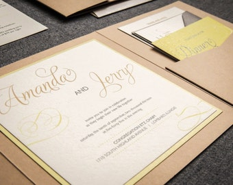 "Modern Rustic Wedding Invitations, Lime Green Pocket Invitations with Ribbon - ""Modern Swirl & Flourish"" Pocketfold, 1 Layer, v2 - SAMPLE"
