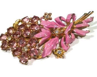 Extremely large PINK crystals enameled bouquet Fantastic Large floral pin 1930s-40s CORO unsigned vintage jewelry runway bold SALE was 95