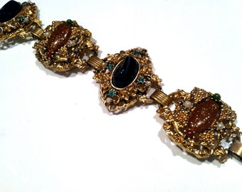 Victorian ANTIQUE Art Nouveau Black Cabochon Brown Confetti CHUNKY Wide Link Bracelet Vintage Designer Jewelry artedellamoda Bookchain Cuff