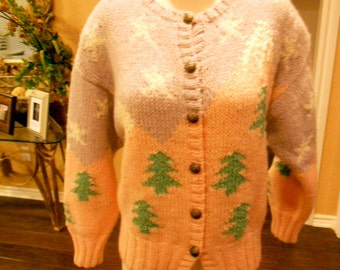 Vintage 80s Sweater / Kitschy Artsy Sweater/ Stars and Mountains Sweater / Novelty Sweater / Size M
