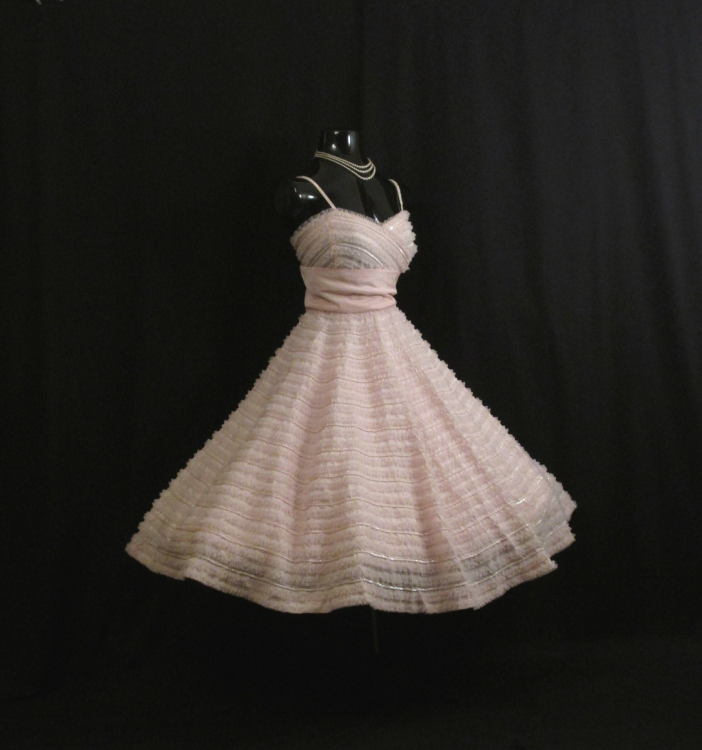Vintage 1950's 50s Bombshell RAPPI Baby Pink Sequins Tulle