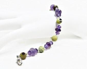 Matte Purple Creek Jasper, Amethyst, and Silver Fluted Hogan Beads Bracelet