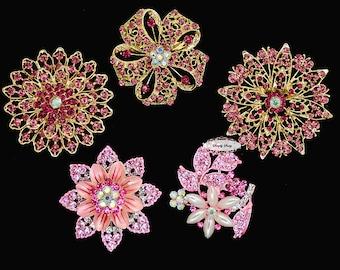 Rhinestone Brooch Components - Flat Back Rhinestone Embellishment Set  - Raspberry Pink - DIY Wedding - Rhinestone Supplies