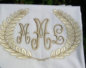 Monogrammed Pillowcase-Embroidered in any 2 colors you desire--LAURELS