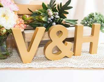Wooden Letters - Freestanding Wedding Initial Signs Set - Personalized Wooden Initials - Freestanding Initials and Ampersand (Item - INI400)