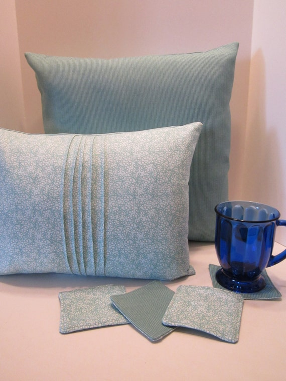 Teal Aquamarine Pillow Covers And/Or Fabric Coasters Mug Rugs- 18 Inch and Lumbar Size GIFT PACK or SEPARATE