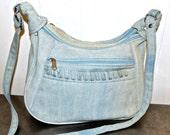 SALE vintage denim purse - 1980s-early 90s light denim satchel purse