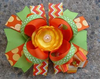 Orange Yellow Green Hair Bow Large Hair bow Boutique hair bow Silk Flower Hair Bow