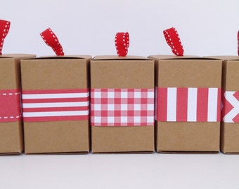 Narrow Red Paper Ribbon in Pattern of Your Choice