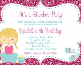 Slumber Party Geburtstag Einladung   Pyjama Party, Sleepover Mädchen  Einladung Zum