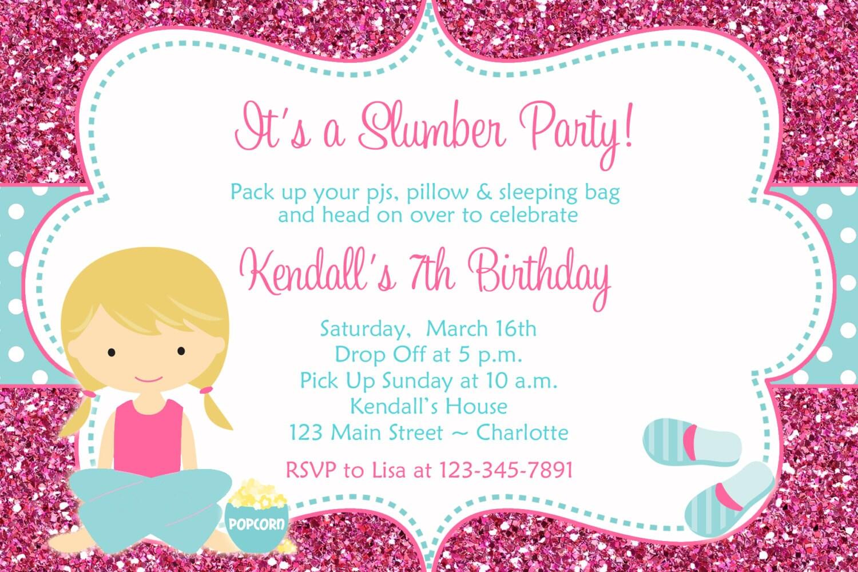 slumber party birthday invitation pajama party sleepover