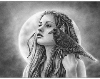 The Search Raven Moon Girl Native Indian Woman Emo Art Print Zindy Nielsen