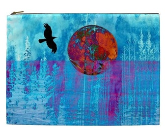 Raven travel Bag, Extra Large cosmetic pouch, XL travel bag, Men's visa and passport pouch, bags and purses, hairdryer bag, zipper pouch