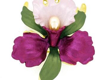 Fuchsia Pink Orchid Swarovski Crystal Flower Pin Brooch 1011823