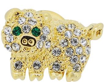 Golden Pig Crystal Tag Pin 1011063