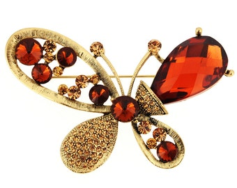 Topaz Brown Butterfly Pin Brooch 1002381