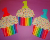 1 Iron On First Birthday Applique RAINBOW Stripe Rainbow SPRINKLE CUPCAKE With Number 1....You Choose Number Color