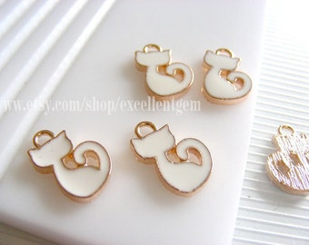 10 Cat charms, Lovely 14k Gold plated white color charms-10*15mm