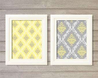Damask Pattern Printable Wall Art Grey Yellow Set of 2 -8x10- Vintage Geometric Instant Download Digital Print Living Room Home Decor