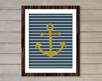Nautical Nursery Printable Wall Art - Navy & Faux Gold Glitter - 8x10 - Instant Download Anchor Poster Nursery Decor Wall Art Digital Print