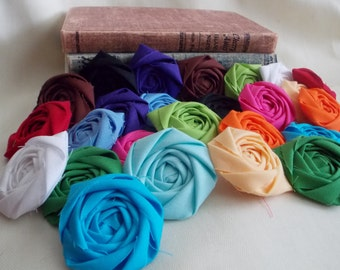Rolled Rosettes Handmade Fabric Flowers DIY Crafting Supplies Sewing Appliques Red Orange Yellow Green Blue Purple Pink Aqua Black White