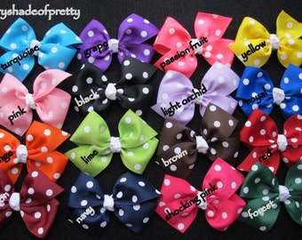 4 inch Polka Dot Half  Pinwheel Bows--girls bows--you choose colors--toddler bows--baby bows
