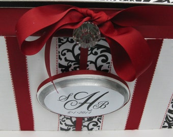 Wedding Card Box Money Gift Box Holder- Custom Initial Date Plaque Black/White with Red trim