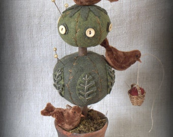 Topiary Treehouse Pincushion E-PATTERN with Baby Robins by cheswickcompany