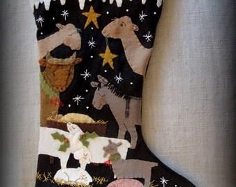 Oh Holy Night Christmas Stocking E-PATTERN by cheswickcompany