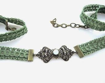 Wedding Dress Sash – Olive Green Bridal Belt with Brass Buckle and Swarovski Bead by TalilaDesign  b326