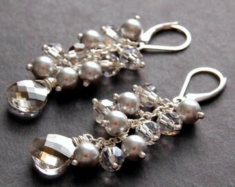 Bridal Earrings, Silver Pearl and Swarovski Crystal Cluster Earrings, Silver and Gray Earrings, Sterling Silver Earwires