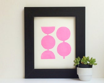 Modern Decor Geometric Circles in Pink Linocut Art Print 8 x 10 Polka dot