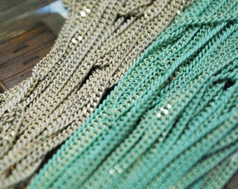 The shiny mint and white chains(2mm)
