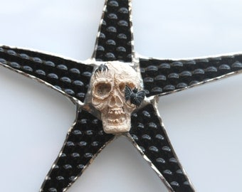 Scary Skull Star- 8 inch patterned black stained glass points with resin skull