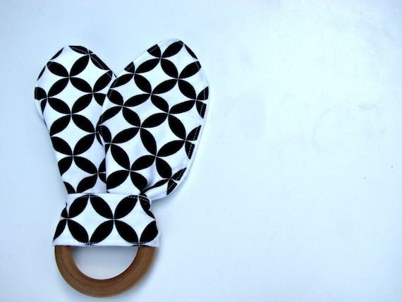 Natural Bunny Teething Ring Black and White