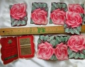 vintage advertising needle kit Stanley rose lot 8 packet sewing supplies notions findings red green midcentury commercial sample