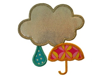 """Rainy Day Applique Machine Embroidery Design Applique Pattern of a cloud, raindrop and umbrella in 4 sizes 3"""", 4"""", 5"""" and 6"""""""
