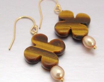14kt Gold-Filled Tiger Eye Clover & Freshwater Pearl Drop Earrings