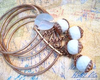 Vintage Bangle Bracelet and Earring set with Dangles
