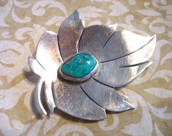 Vintage Sterling Silver Turquoise Modernistic Leaf Pin / Brooch
