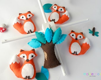 Fox Baby Mobile - Woodland Baby Mobile - Tangerine Foxes with Teal and Aqua Tree