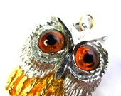 Vintage Owl Pendant Silver and Gold with Eyes