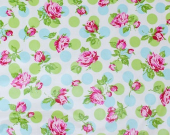 "LAMINATED Cotton  - Blue Polka Dot Rose, 56"" Wide, BPA & PVC Free"