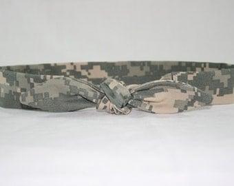 ACU Army Child Headband with Tie Hairbow Military Digital Camo
