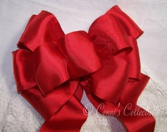 Classic Red Satin Bow Handmade Great for Wreaths Holiday Christmas Decoration Gift Wedding Pew Bows