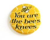 Bees Knees Accessories Yellow Refrigerator Magnets Gifts for Friends Honey Comb Pattern