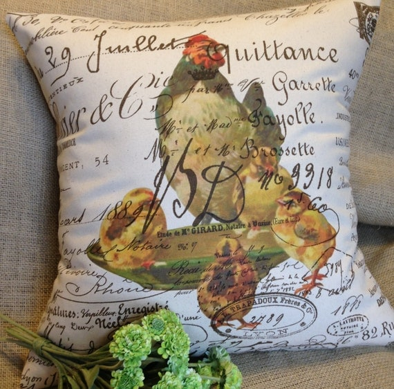 "Pillow cover French Script Canvas  ""Hen and Chicks"" by Gathered Comforts"