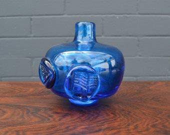 Mid Century Vintage Blue Blenko Vase