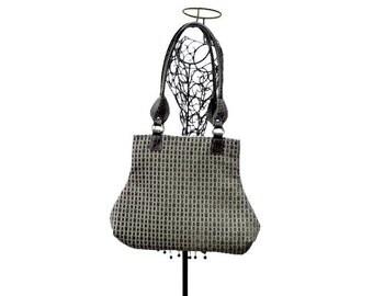 Brown Aqua Tapestry Fabric Handbag Purse
