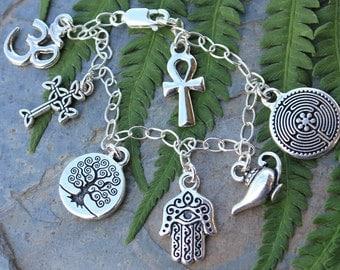 Ancient Religions Charm Bracelet- om, hamsa, tree of life, cross, ankh, labyrinth, genie - coexist - free shipping in US
